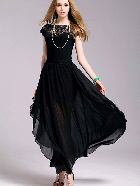Black Maxi Dress Slim Fit Chiffon Lace Dress (Women\\'s Clothing Maxi Dresses) photo
