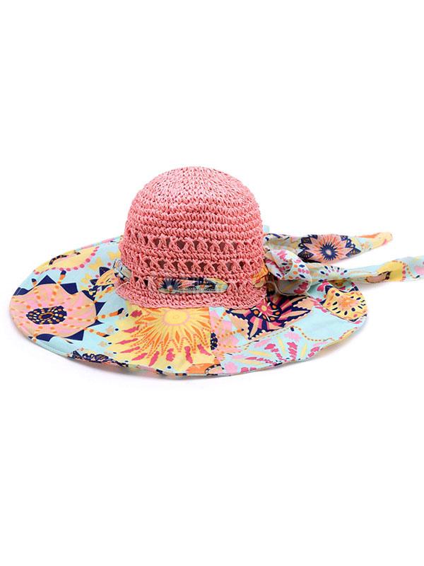 chapeau de multicolor paille chapeau imprim boh me plage pour femmes. Black Bedroom Furniture Sets. Home Design Ideas