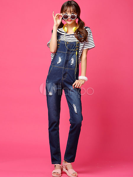 Blue Ripped Jeans Overalls Straight Denim Jeans For Women