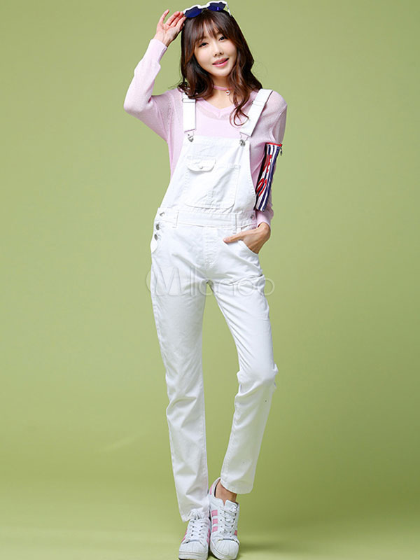 White Overalls Straight Slim Fit Denim Jeans for Women
