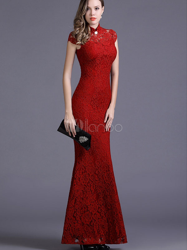 Red Bodycon Dress Mermaid Cut Out Lace Maxi Dress (Women\\'s Clothing Lace Dresses) photo