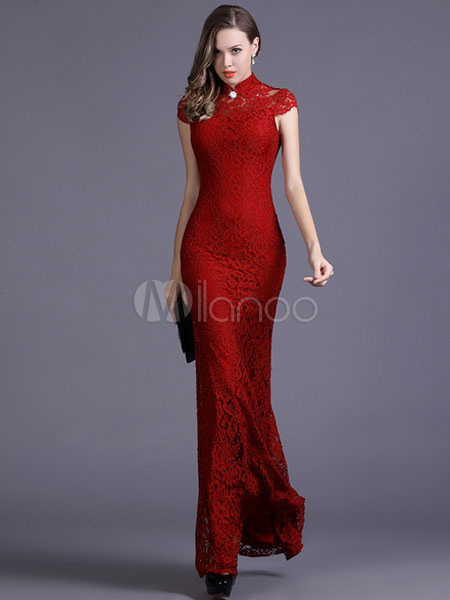 Red Mermaid Maxi Dress Cut Out Polyester Bodycon Dress (Women\\'s Clothing Bodycon Dresses) photo