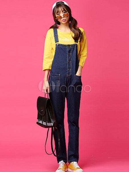 Blue Overalls Straight Shaping Denim Jeans for Women
