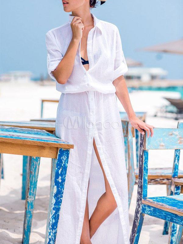 White Maxi Dress Split Deep-V Chiffon Summer Dress (Women\\'s Clothing Shirt Dresses) photo