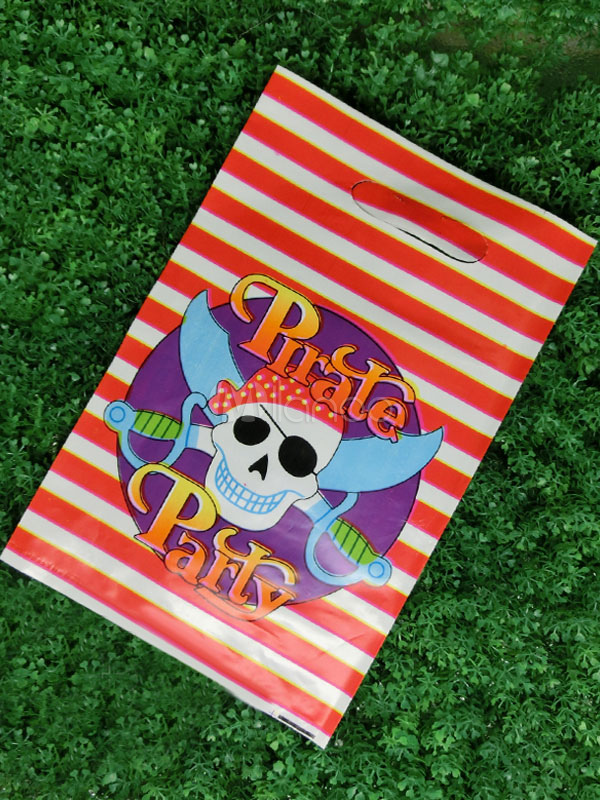 Halloween Pirate Skull Gift Bag Stripes Plastic Multicolor Party Bag