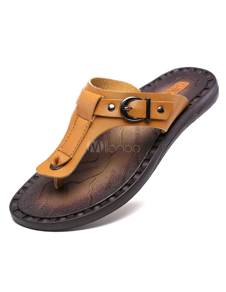 braun flip flops pu sandalen f r m nner. Black Bedroom Furniture Sets. Home Design Ideas