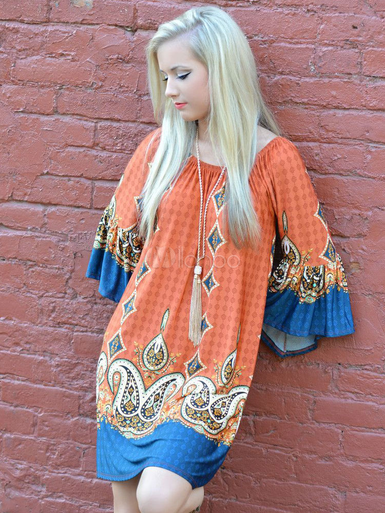 Multicolor Shift Dress Print Silk Satin Short Dress (Women\\'s Clothing Summer Dresses) photo