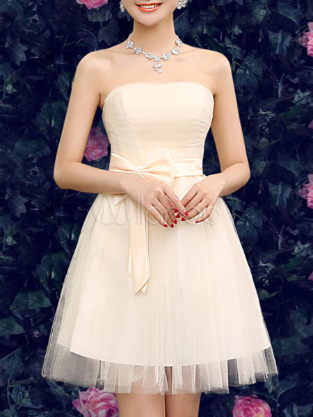 Champagne Evening Dress Strapless Backless Tulle Flare Dress (Women\\'s Clothing Skater Dresses) photo