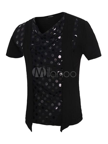 Noir sequins t shirt coton slim fit t shirt pour hommes for Film noir t shirts