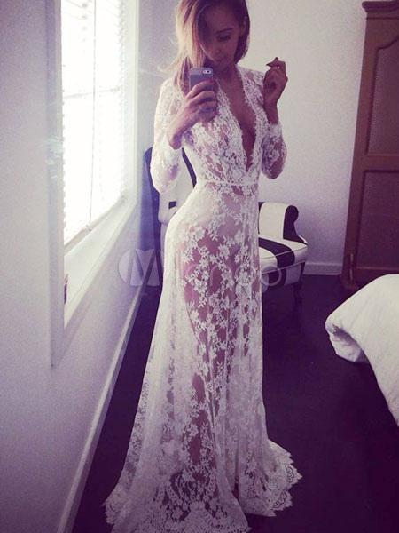 Lace Cut Out Maxi Dress White Sheer Slim Fit Club Dress (Women\\'s Clothing Club Dresses) photo