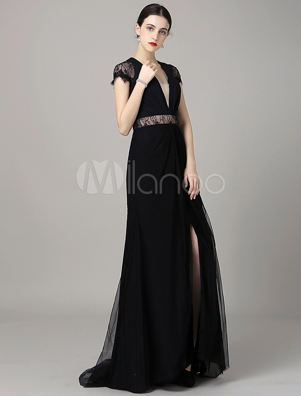 Black Chiffon Evening Dress Plunging Cap Sleeves Prespective Sexy Lace Mermaid Party Dress Milanoo