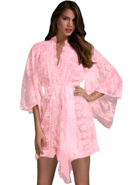 Pink Mini Dress Lace Sash Semi-Sheer Polyester Chemise (Women\\'s Clothing Gowns & Robes) photo