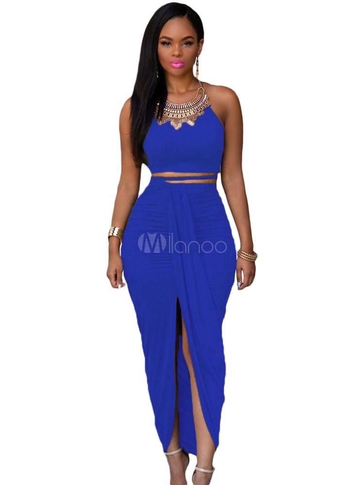 Royal Blue Maxi Dress Halter Split Cut Out Dress (Women\\'s Clothing Club Dresses) photo