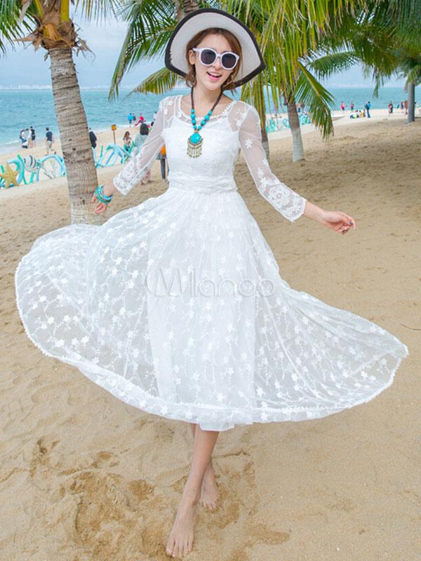 Lace Maxi Dress White Women Sheer Long Beach Dress (Women\\'s Clothing Lace Dresses) photo