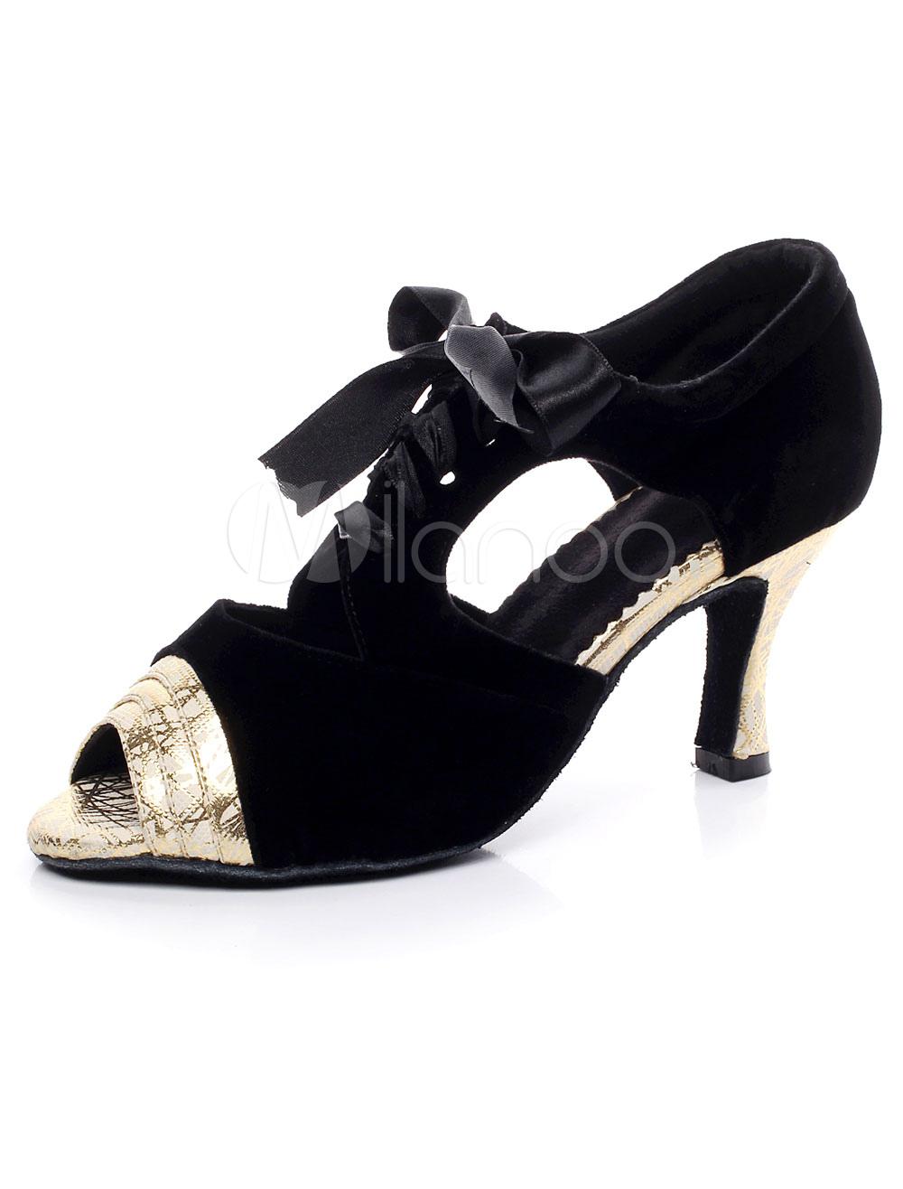 bow peep toe lateinamerikanische t nze sandalen schwarz pu. Black Bedroom Furniture Sets. Home Design Ideas