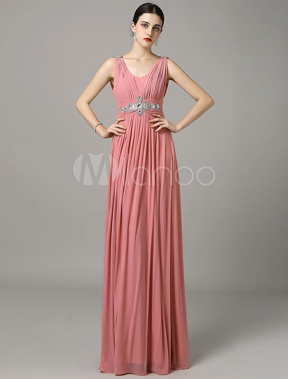 A-Line Pink Chiffon Prom Dress With V-Neck Sash (Wedding Prom Dresses) photo
