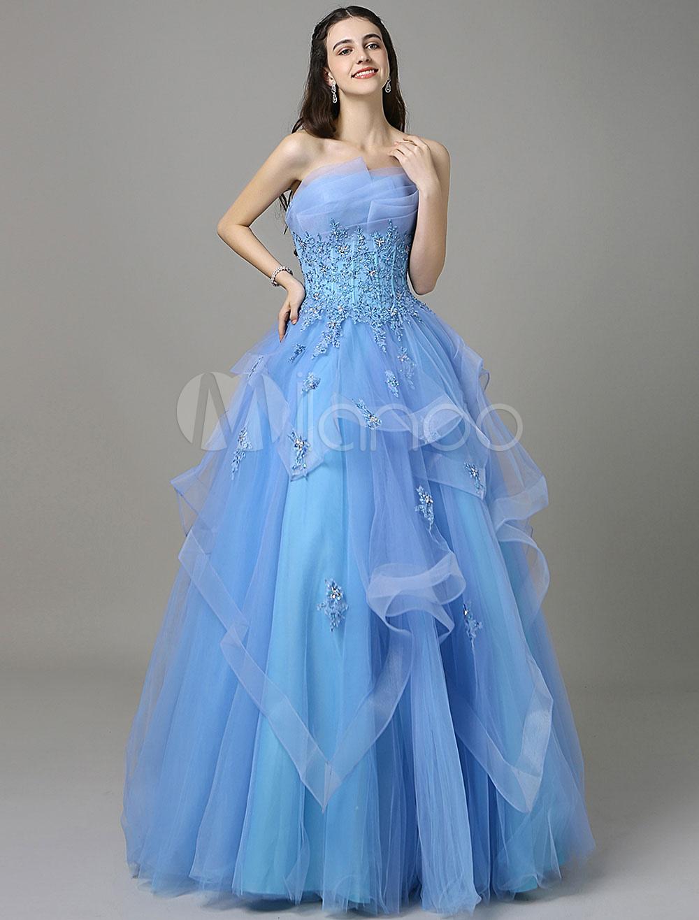 Blue A-Line Prom Dress With Strapless Sleeveless Applique (Wedding Prom Dresses) photo