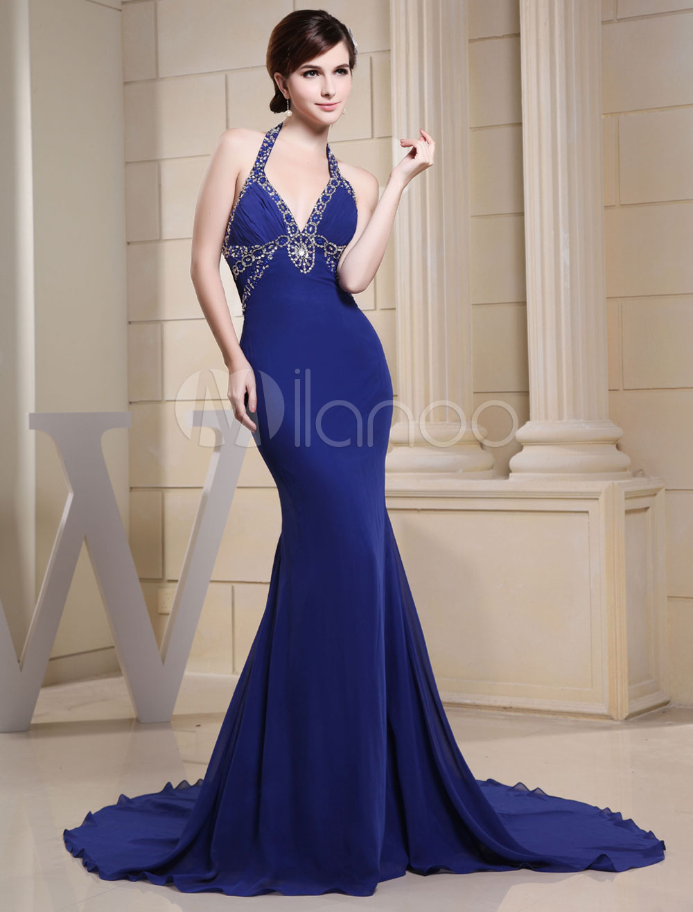 Royal Blue Evening Dress Halter Chaple Train Pleated Beading Backless Chiffon Formal Party Dress