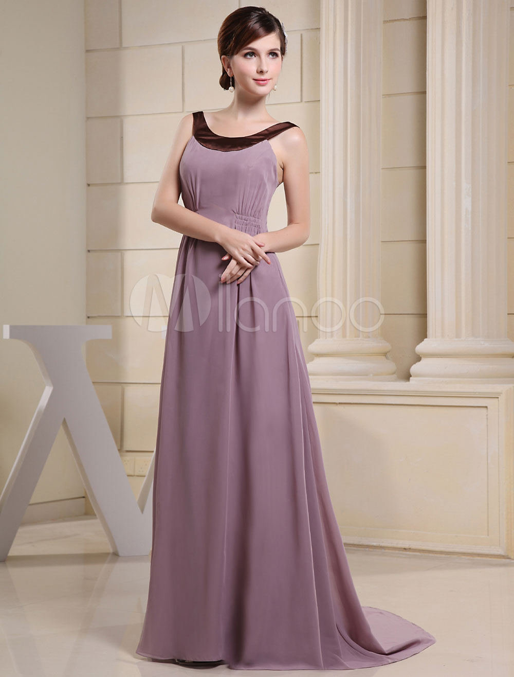 Lavender Evening Dress Jewel Neckline Elastic Pleated Court Train Chiffon Wedding Party Dress