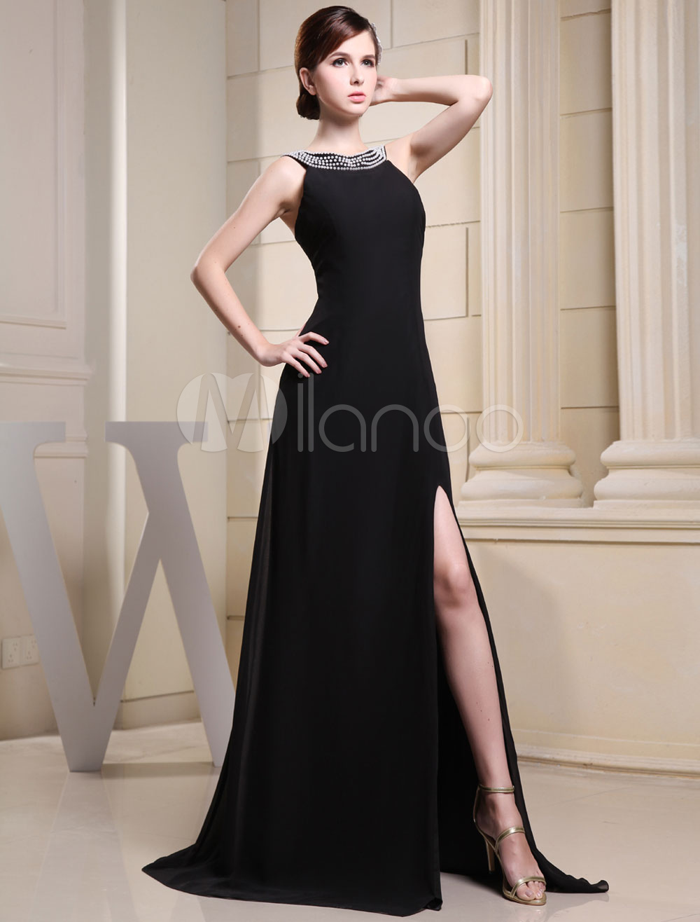 Black Evening Dress Jewel Beading Sleeveless Split Court Train A-Line Chiffon Wedding Party Dress
