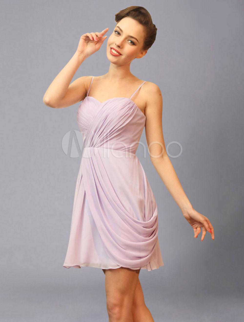 lavande demoiselle dhonneur robe sweetheart spaghetti pliss mousseline courte mariage robe de soire milanoocom - Milanoo Robe De Soiree Pour Mariage