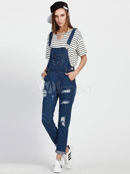 Blue Distressed Denim Overalls Slim Fit Jumpsuit for Women