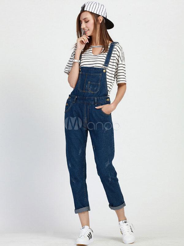 Blue Denim Overalls Slim Fit Jumpsuit for Women