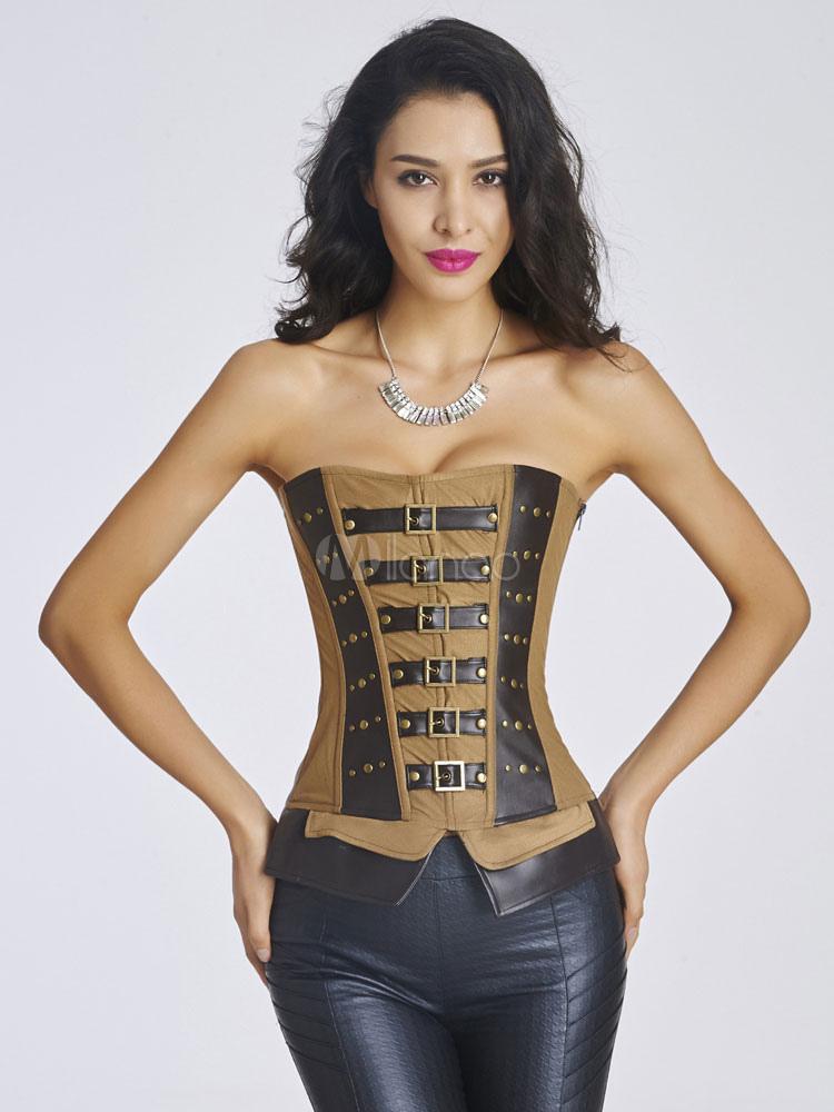 Brun boucle passe fil corset bustier polyester chic pour les femmes - Bustier femme chic ...
