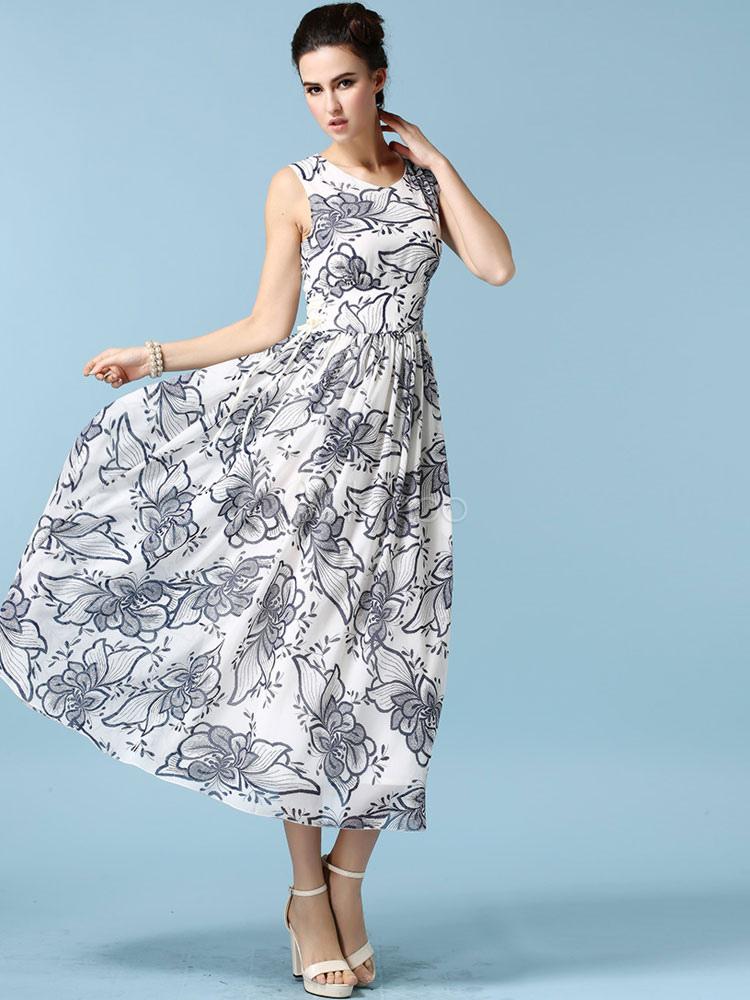 blanc impression maxi robe en mousseline de soie robe d t chic. Black Bedroom Furniture Sets. Home Design Ideas