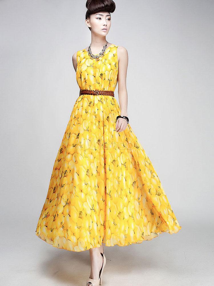 robe en mousseline de soie jaune robe maxi fruits. Black Bedroom Furniture Sets. Home Design Ideas