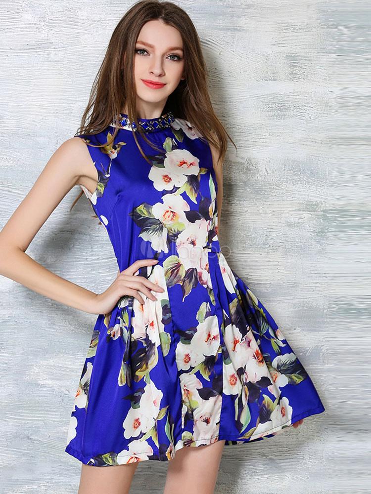 blaue flare kleid floral print spandex kurzes kleid. Black Bedroom Furniture Sets. Home Design Ideas