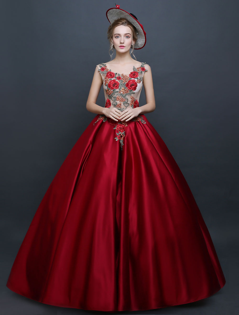 Burgundy Victorian Princess Ball Gown Chic Satin Costume - Buy Online
