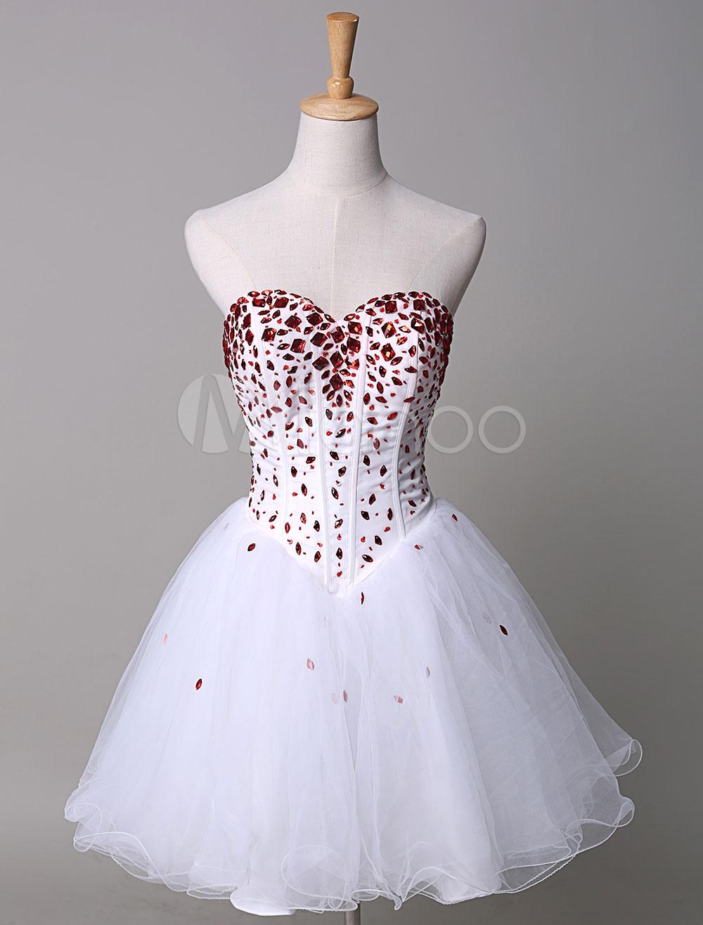 Strapless Prom Dress Rhinestone Beading A-Line Tulle Short Homecoming Dress