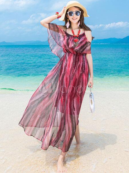 Red Cold-Shoulder Stripes Print Maxi Dress (Women\\'s Clothing Maxi Dresses) photo
