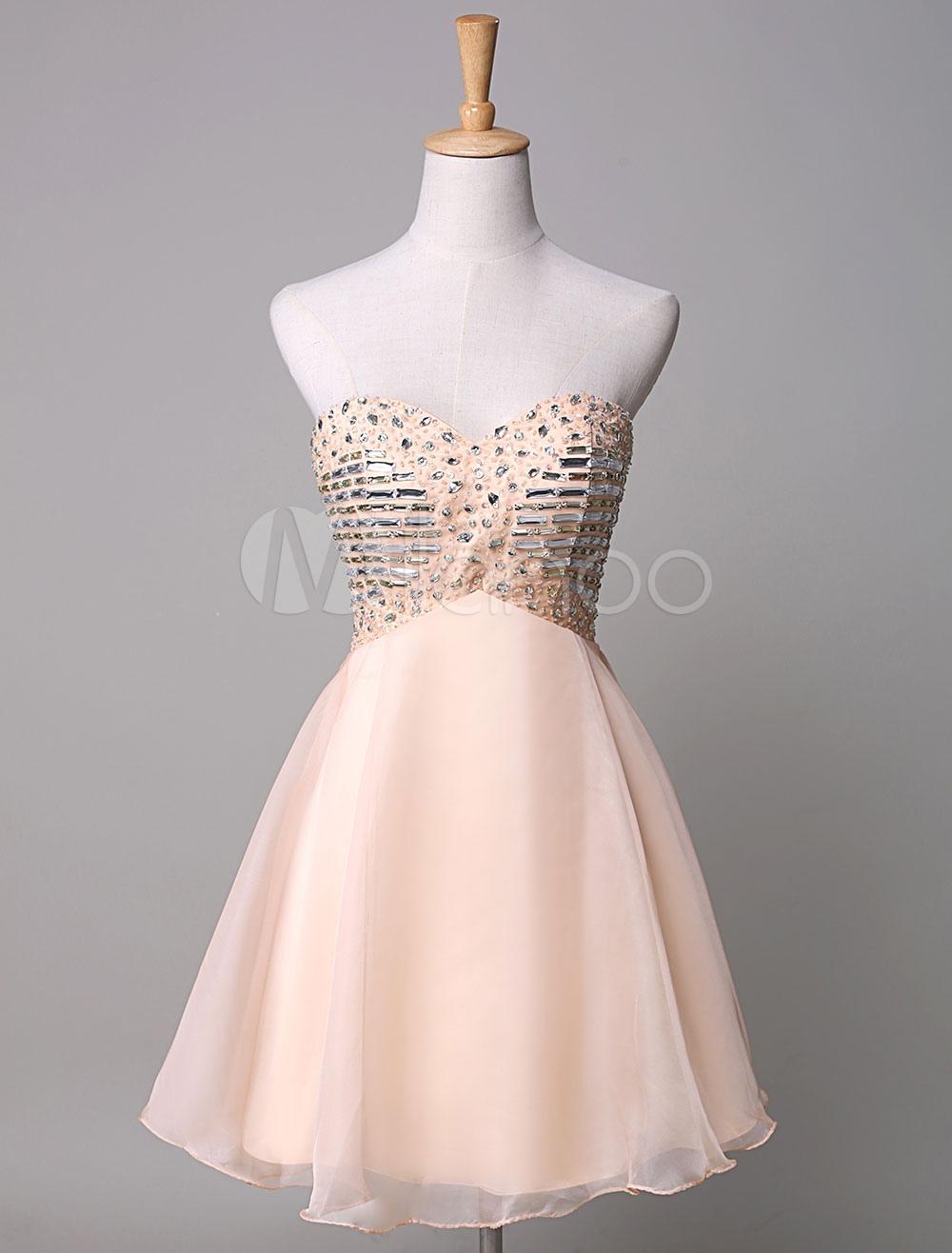 Chiffon Prom Dress Strapless Beading A-Line Mini Cocktail Dress (Wedding Cheap Party Dress) photo