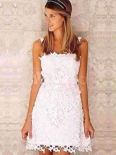 White Straps Sash Lace Chic Short Dress (Women\\'s Clothing Lace Dresses) photo