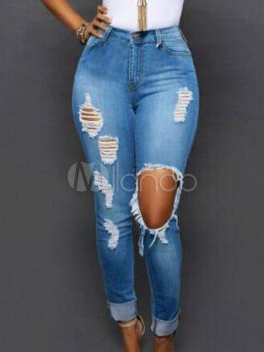 zerrissene jeans denim distressed skinny jeans f r damen. Black Bedroom Furniture Sets. Home Design Ideas