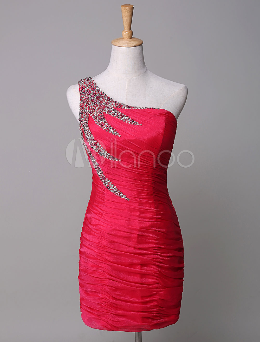 One-Shoulder Cocktail Dress Red Chiffon Pleated Sequin Mermaid Mini Party Dress (Wedding Cheap Party Dress) photo