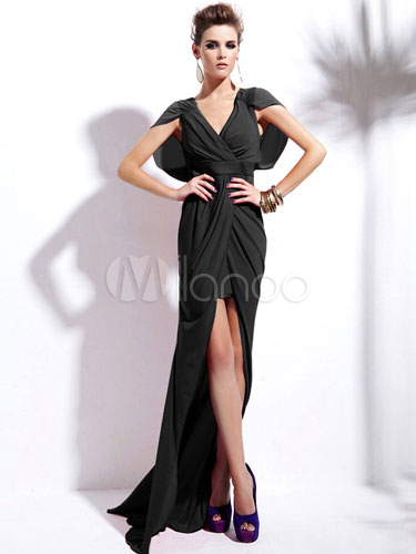 Black Split Front Floor-Length Dress High-Low Party Dress (Women\\'s Clothing Party Dresses) photo