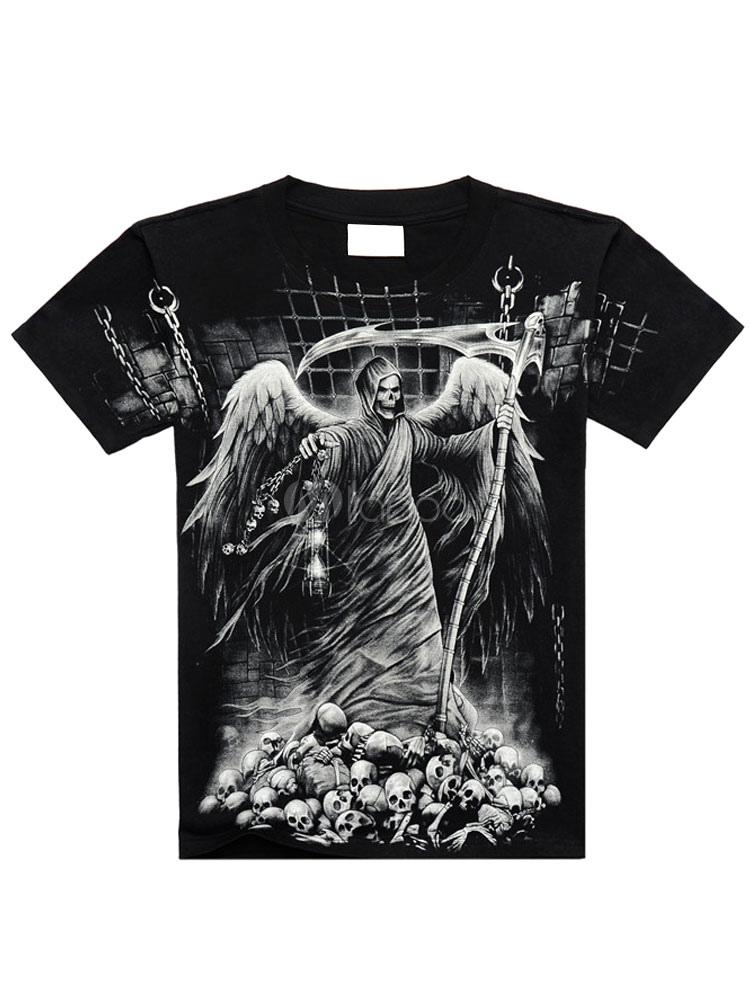 T shirt noir cartoon impression coton t shirt pour hommes for Film noir t shirts