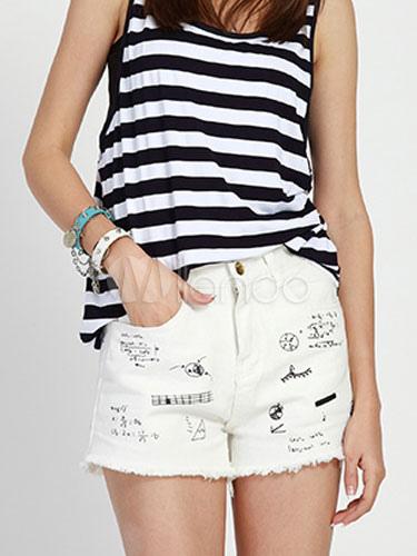 Denim Shorts White Print Frayed Slim Fit Shorts for Women
