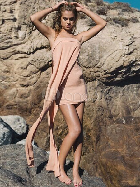 Pink Strapless Dress Asymmetric Acetate Mini Dress (Women\\'s Clothing Summer Dresses) photo