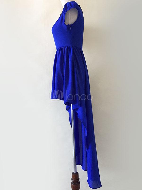 asymmetrische maxi kleid blau high low chiffon kleid. Black Bedroom Furniture Sets. Home Design Ideas