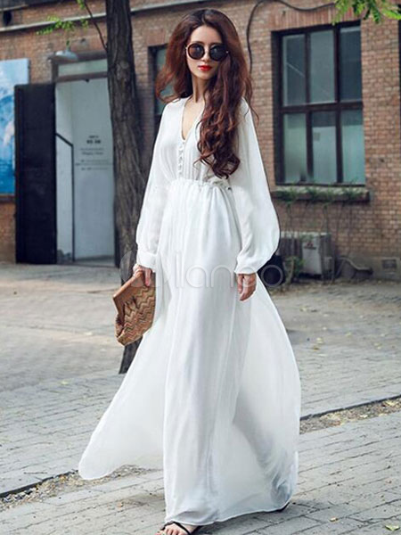White Maxi Dress Sash Slim Fit Chiffon Dress (Women\\'s Clothing Maxi Dresses) photo