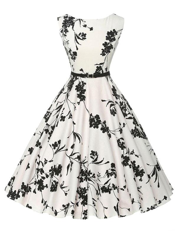 White Printed Flower Women's Vintage Dress (Women\\'s Clothing Vintage Dresses) photo