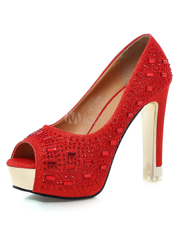 Red Platform Bridal Pumps Peep Toe Rhinestone PU Evening Heels