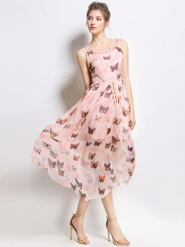 robe d t en mousseline de soie chic de papillon rose robe imprim e. Black Bedroom Furniture Sets. Home Design Ideas
