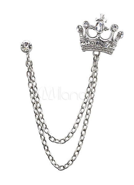Crown Chain Brooch Metal Rhinestone Brooch For Women