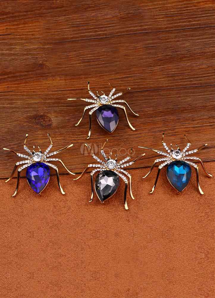Spider Brooch Metal Rhinestone Brooch For Women