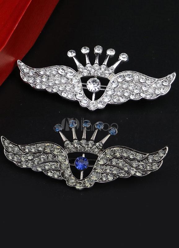 Angel Wings Pattern Brooch Metal Rhinestone Brooch For Women